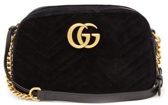 Gucci Gg Marmont Small Quilted Velvet Cross Body Bag - Womens - Black