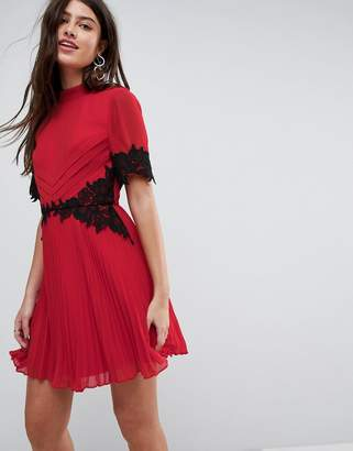 Asos DESIGN Lace Waist and Cuff Pleated Mini Dress
