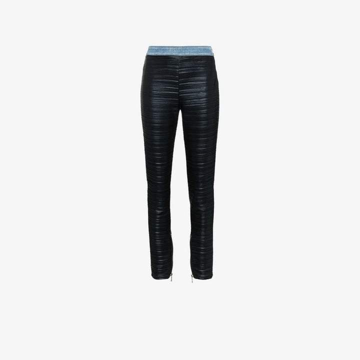 high waist ribbed trousers