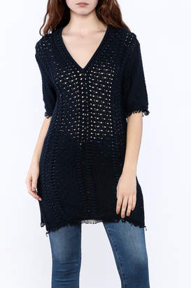 Minnie Rose Navy Tunic Top $187 thestylecure.com