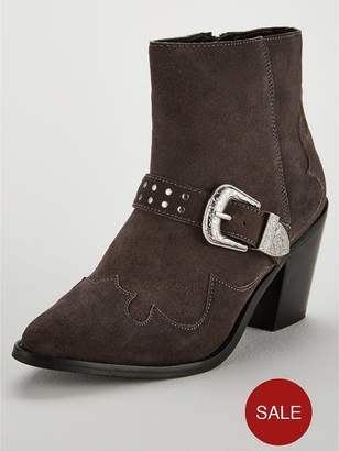 Very Forest Real Suede Heel Western Boot - Grey