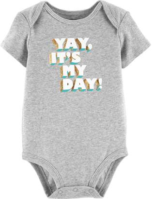 """Carter's Baby Girl Yay It's My Day"""" Foiled Graphic Bodysuit"""