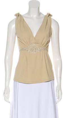 Valentino Sleeveless Lace-Trimmed Top