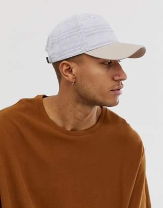 Asos Design DESIGN gray check baseball cap with contrast peak