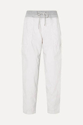 James Perse Jersey-trimmed Cotton-blend Poplin Track Pants - Silver