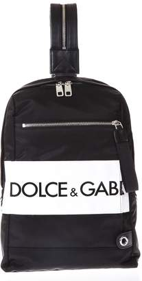 Dolce & Gabbana Black Logo Backpack In Nylon