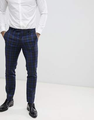 Twisted Tailor super skinny suit pant in blue check