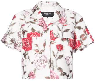 Rochas floral shortsleeved cropped shirt