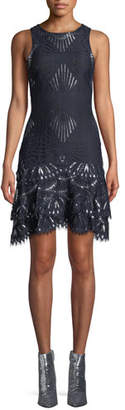 Jonathan Simkhai Sheer Metallic Sleeveless Short Dress