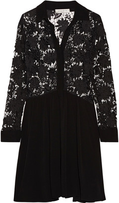 Sandro Roxane pleated lace and crepe mini dress $530 thestylecure.com
