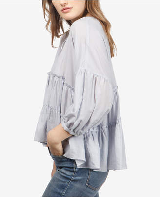 Lucky Brand Striped Tiered-Ruffle Peasant Top