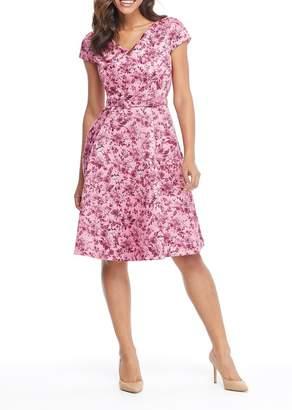Gal Meets Glam Elle Floral Print V-Neck Fit & Flare Dress (Regular & Plus Size)