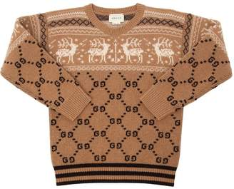 Gucci Gg Jacquard Wool Knit Sweater