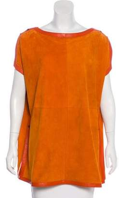 Akris Leather-Trimmed Suede Top