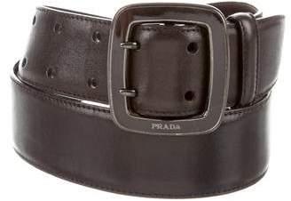 Prada Gunmetal Buckle Leather Belt