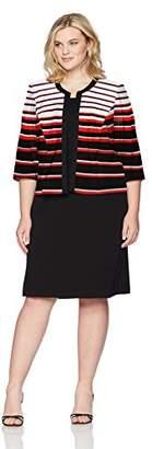 Sandra Darren Women's Plus Size 2 Pc 3/4 Sleeve Striped Sheath Jacket Belted Dress