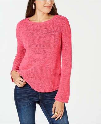 Style&Co. Style & Co Mixed-Stitch Crew-Neck Sweater