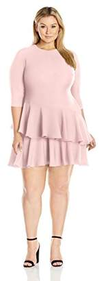 Eliza J Women's Plus Size 3/4 Sleeve Dress with Tiered Ruffle Skirt