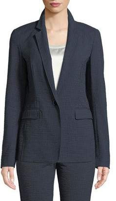 Lafayette 148 New York Lyndon Rendezvous Seersucker Stripe Zip-Pocket Blazer