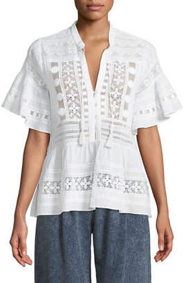 Sea Ila Tassel-Tie Short-Sleeve Mixed-Embroidered Blouse