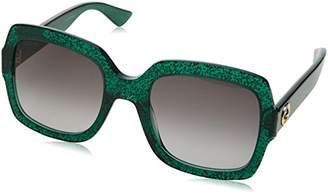 Gucci Women's GG0036S Sunglasses, Green-Grey