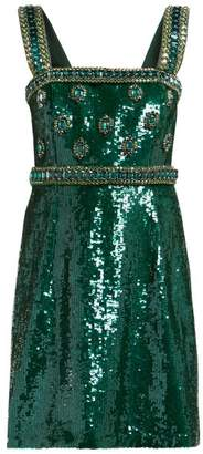 Andrew Gn Sequinned And Crystal Embellished Mini Dress - Womens - Green