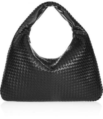 Bottega Veneta Maxi Veneta Intrecciato Leather Shoulder Bag - Black