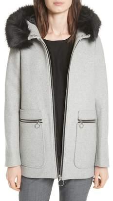 Maje Faux Fur Trim Hooded Wool Blend Coat