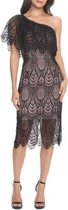 Dress the Population Violet One Shoulder Lace Sheath Dress