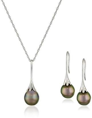 Sterling Silver Freshwater Cultured Pearl Drop Pendant Necklace and Earrings Jewelry Set
