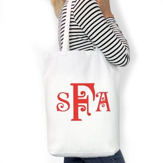 "Monogram Online Monogram Custom Cotton Tote Bag, Sizes 11"" x 14"" and 14.5"" x 18"""