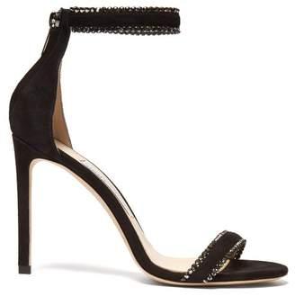 Jimmy Choo Dochas 100 Crystal Embellished Suede Sandals - Womens - Black