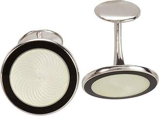 Barneys New York MEN'S SILVER & ENAMEL CUFFLINKS - BLACK
