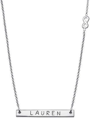 FINE JEWELRY Personalized Sterling Silver Infinity Charm Name Bar Necklace