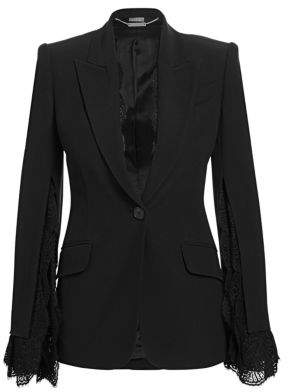 Alexander McQueen Slash Lace Sleeve Jacket