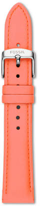 Fossil 18mm Neon Coral Leather Watch Strap