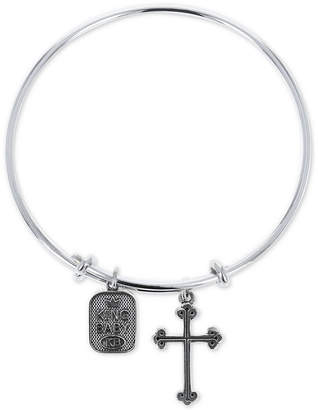 King Baby Studio Women's Cross & Logo Adjustable Bangle Bracelet in Sterling Silver