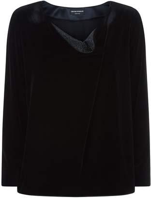Emporio Armani Velvet Cowl Neck Shirt