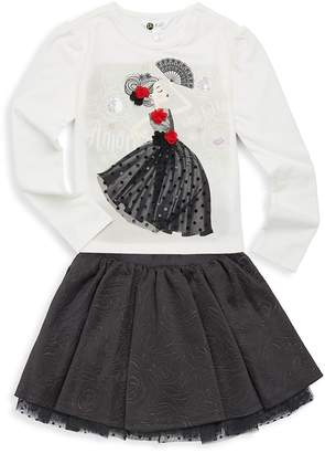 Petit Lem Little Girl's Two-Piece Ciao Bella Top and Skirt Set