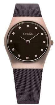 BERING Brown Classic Stainless Steel and Crystal Strap Watch