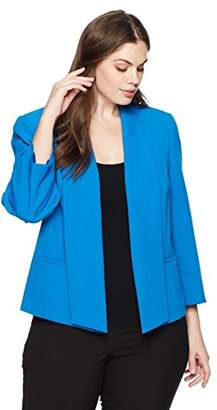 Kasper Women's Plus Size Solid Stretch Crepe Jacket with Pockets