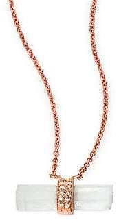 Jacquie Aiche Women's Aquamarine, Diamond& 14K Rose Gold Aura Bar Pendant Necklace