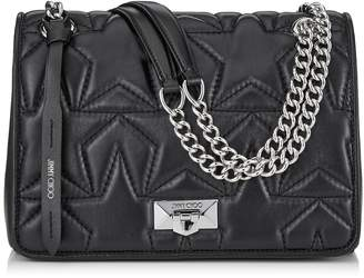 Jimmy Choo HELIA SHOULDER Black Nappa and Silver Shoulder Bag with Chain Strap