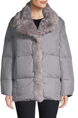 French Connection Devon Faux Fur-Trim Down Jacket