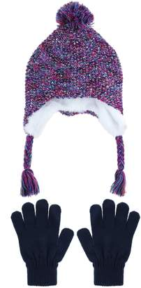 Capelli New York Space Dyed Earflap Hat & Gloves Set