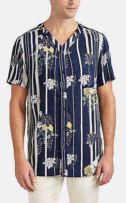 Onia Men's Striped-Floral Short-Sleeve Shirt - Navy