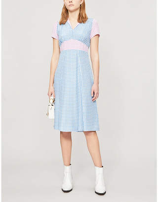 HVN Morgan gingham-print silk midi dress