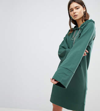 Asos Tall TALL Hooded Mini Sweat Dress With Chains And Cut Outs