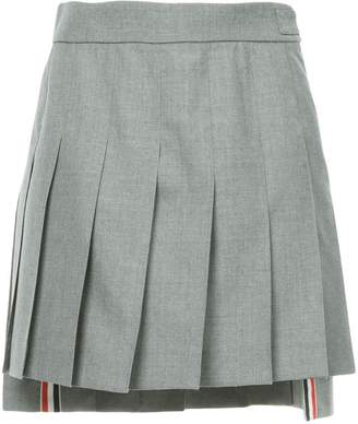 Thom Browne Dropped Back Mini Pleated Skirt In School Uniform Plain Weave