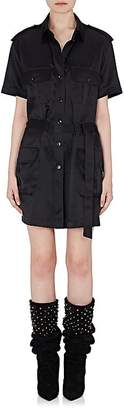 Saint Laurent Women's Silk Satin Belted Cargo Dress